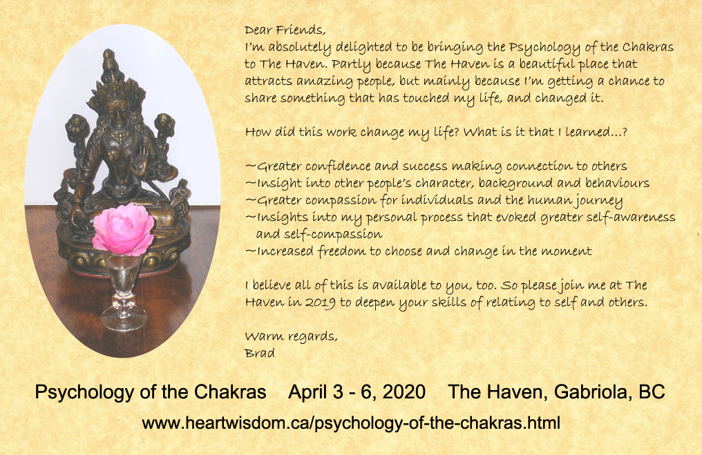 An invitation to join me at the Psycholgy of the Chakras Program, 2017.