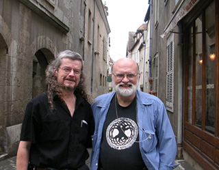 Jeremy Taylor and Brad Cassidy in the streets of Chartres.