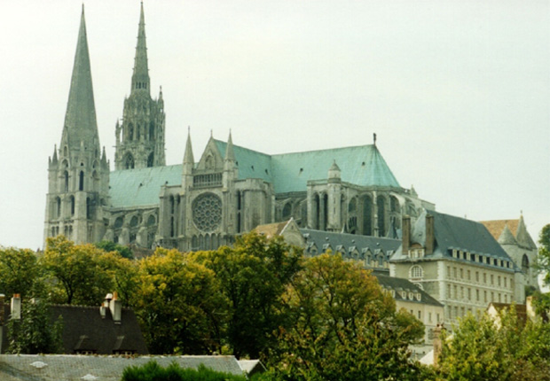 A photo or the Notre Dame Cathedral of Chartres.