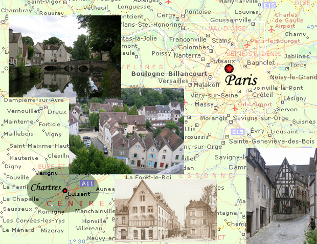 A collage of some of the sights in the City of Chartres.