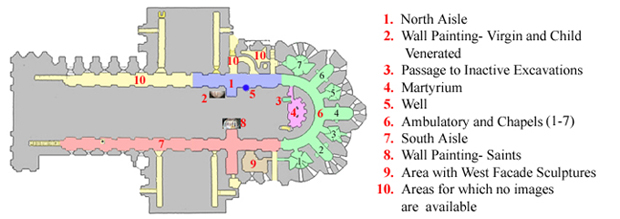 A plan of the crypt beneath Chartres Cathedral.